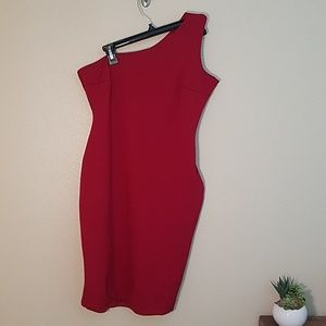 Lulus bodycon Red one shoulder dress